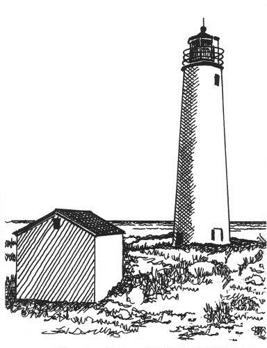 Nubble Lighthouse At Cape Neddick Drawing by Frederic Kohli  Cape Fear Lighthouse Line Drawing